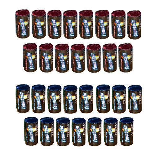 5-30 Stück h2i Mini Vulkan Silvester Feuerwerk Eissterne Zaubersterne Eisfontäne Sternenregen Traumsterne Jugend-Party-Feuerwerk mit silber-rotem & gold-blauem Funkenregen