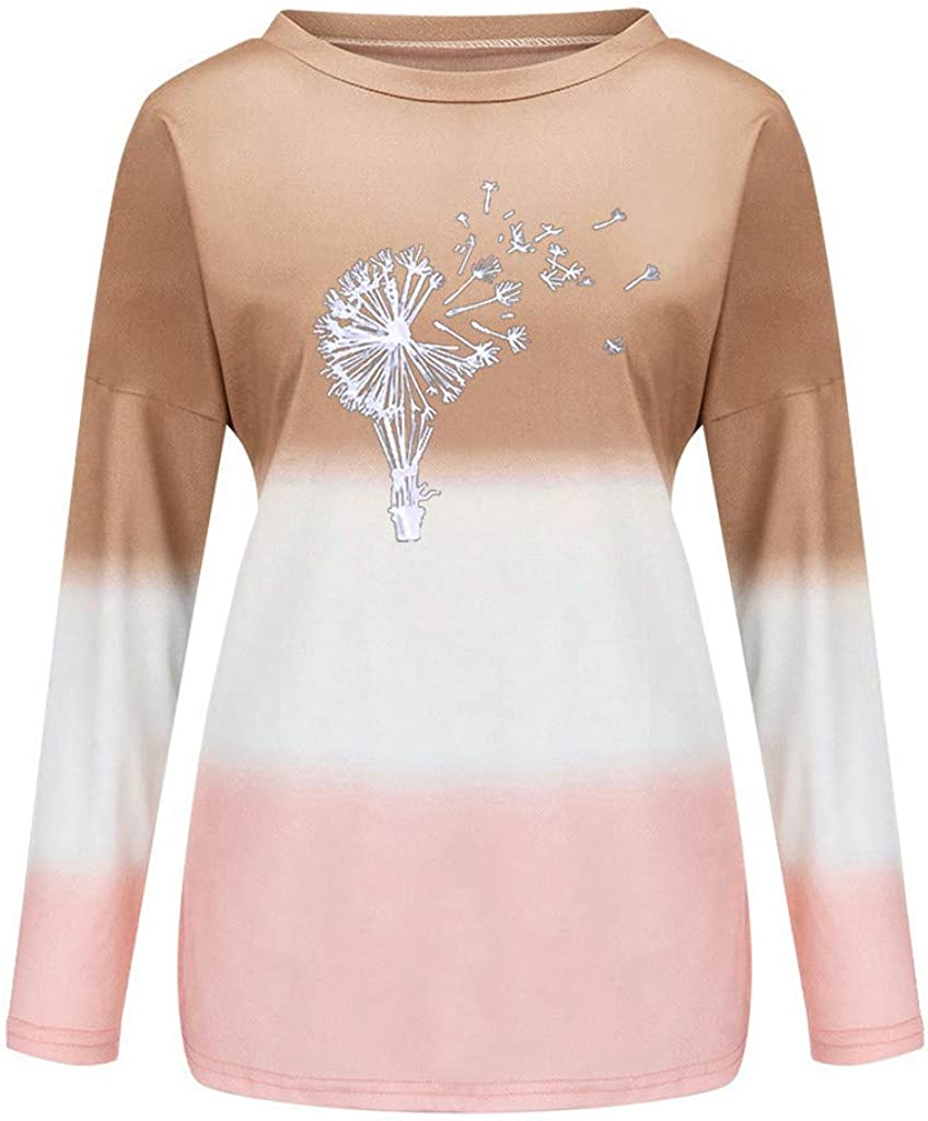 UOCUFY Womens Pullover Tops, Womens Casual Gradient Printed Crewneck Long Sleeve Loose Pullover Sweatshirt Tops