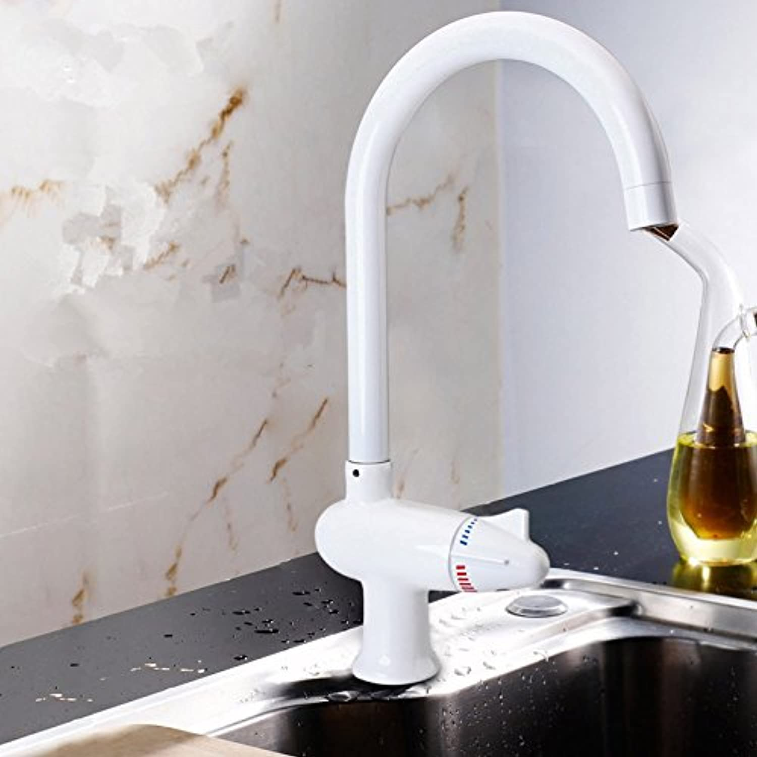 Maifeini Single Hole Hot And Cold Kitchen Faucet, Dish Washing Basin Faucet, Fine Copper Thickening Sink Faucet,L3016 White Paint