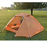 WEAPRIL Winter Camping Tent 2 Person Lightweight Double Layer Backpacking Tent, Waterproof Two Doors Double Layer Easy Setup Tent with Aluminum Rods for Outdoor Hunting, Hiking, Climbing, Travel