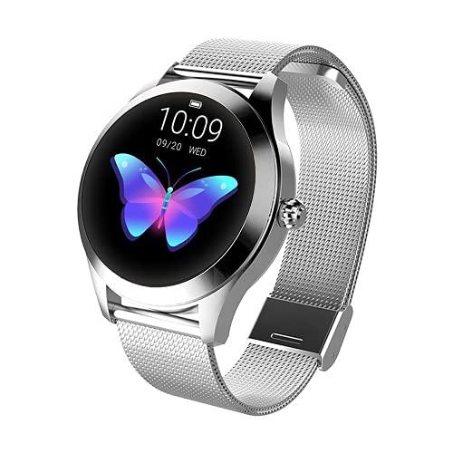 LUNIQUESHOP Round Smartwatch, Bluetooth 5.0 Montre Intelligente Femme Homme avec Fréquence Cardiaque, Podometre Sommeil Suivi de Performance IP68, Bracelet connecté, pour Android/iOS (Argent)
