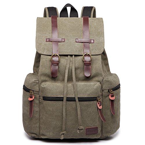 Kono Vintage Unisex Casual Backpack Canvas Rucksack Bookbag Satchel Hiking Backpack Travel Outdoor Shouder Bag (Green)