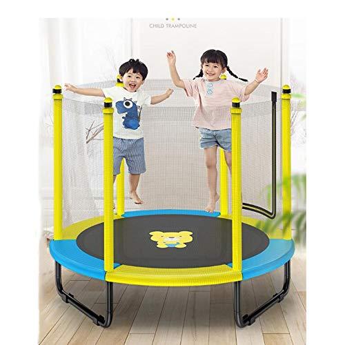 Pulley - Cama elástica para exteriores con red de seguridad y manillar en T, 152 cm para niños y adultos, carga máxima de 500 kg, amarillo, azul, macay rosa O (color: amarillo)