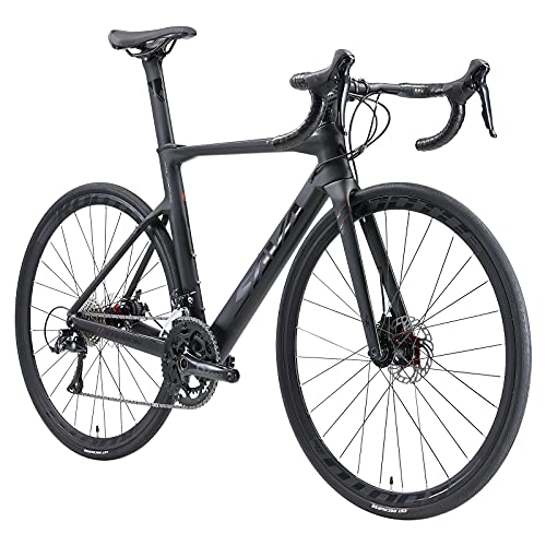 SAVADECK R08 Bici da strada carbonio, 700C Bici da corsa carbonio con freno a disco con Shimano SORA R3000 a 18 marce e sistema coassiale Bici da strada per uomo e donna bicicletta