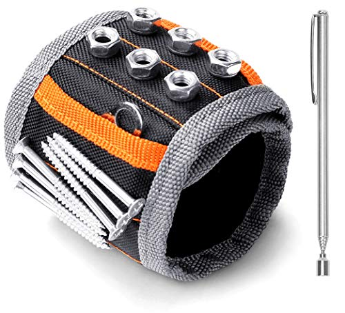 HORUSDY Magnetic Wristband,with Strong Magnets for Holding Screws, Nails, Drilling Bits, of The Best...
