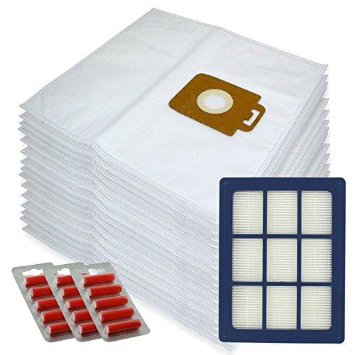Spares2go Sacs d'Chiffon de nettoyage en microfibre + H12 Filtre HEPA pour Nilfisk Power P40 + Allergy Aspirateur (lot de 15 + cartouche de filtre + désodorisants)