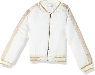 Giggles Striped Trims Zip-up Satin Baseball Jacket for Girls