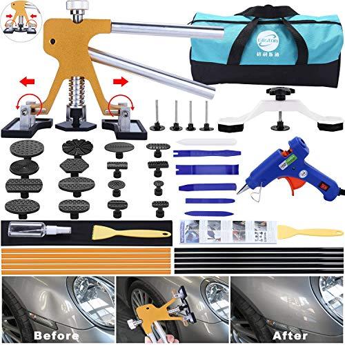Randalfy 45piezas Herramienta de reparación de extractor de abolladuras sin pintura con pops, un elevador dorado y un extractor de puentes para la eliminación de abolladuras en el cuerpo del automóvil