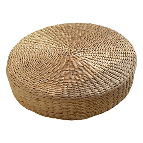 ACAMPTAR 40Cm Tatami Kissen Rundes Stroh Geflecht Handgefertigt Kissen Boden Yoga Stuhl Sitz Matte