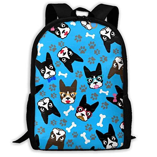 HOJJP Travel Backpack Laptop Backpack Large Diaper Bag - Dog Boston Terrier Lover Funny Retro Dogs Backpack School Backpack for Women & Men