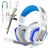 White Gaming Headset for PC PS4 with Mic. Over-Ear Headphones for Laptop Games with Noise Cancelling Stereo 53mm Driver Memory Earmuffs Volume Control Gift for Kids