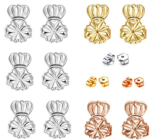 Hadskiss Original Magic Earring Lifters, 5 Pair Adjustable Ear Lifters+ Bonus 3 Pairs Earring Backs Replacements (3 Pair of Sterling Silver, Pair of 14K Gold Plated and Pair of Rose Gold