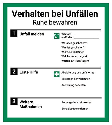 Schild Aushang Verhalten bei Unfällen, 18x20cm, mit UV-Schutz, PVC-Aufkleber, ISO 7010, Unfall Betriebsaushang