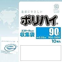 【ケース販売】 ポリハイエコマークロゴ入りごみ袋 90L 0.05 半透明 (LE-90HT) 10枚入×25冊