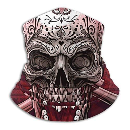 Trista Bauer Pasamontañas Cráneo humano colorido realista gráfico detallado con adorno floral de tatuaje mexicano y huesos cruzados Cómoda capucha de pasamontañas