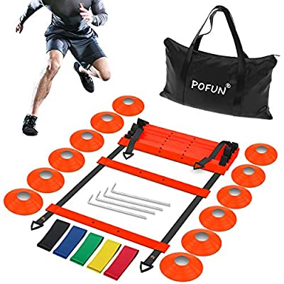 POFUN Pro Speed Agility Training Set - Indoor Outdoor Adjustable Rungs Agility Ladder,5 Loop Resistance Bands, 4 Steel Stakes, 12 Disc Cones - Kit for Soccer,Hockey, Basketball Drill,Lacrosse