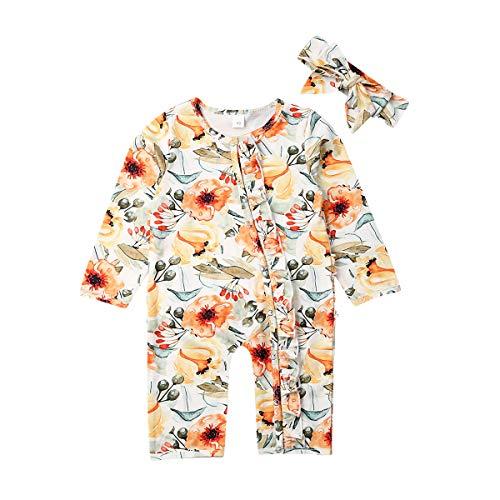 Qinngsha mameluco para bebés recién nacidos y niñas con diseño floral de manga larga en general y con diadema para otoño (2 unidades)