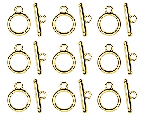 Toggle Clasps, Penta Angel Tibetan Style Stainless Steel Round T-Bar Closure Clip for Necklace Chain Bracelets Jewelry Making Craft DIY, 30 Sets (Gold)