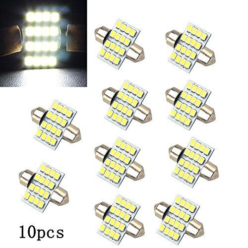Boomboost 10 pcs/lot Blanc 31mm 16SMD 3528 LED Voyants de Voiture Ampoule pour Lumières Intérieures Voiture Tour Lampe Accessoires