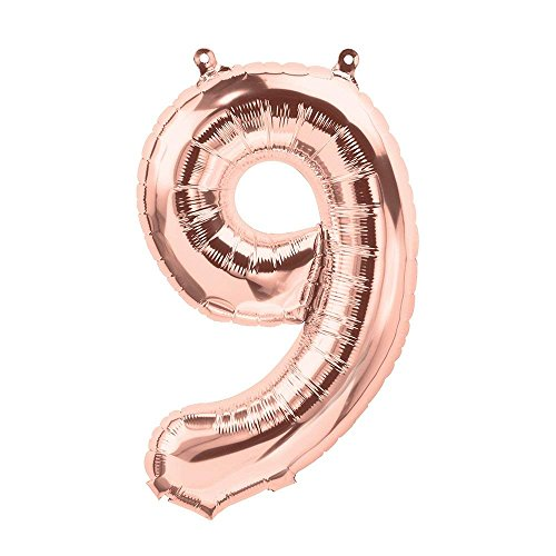 Unbekannt Globo de plástico/Número 9/Globo de Boda/Aire de Globo en Rosé de Oro–Altura 35cm–1Pieza–Decoración de Boda/Accesorios de Boda/Decoración Boda/Aire de Globos (9Globo)
