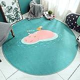 Green Bottom Hippo Print Teppich Baby Krabbeldecke Cartoon Wohnzimmer Schlafzimmer Nachtdecke, 100 × 100cm