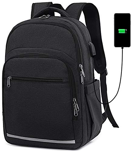 BLUBOON Backpack for Women Men 15 Inch Laptop Bookbag College School Backpacks Schoolbag Compartment Daypack for Bussiness Travel with USB Charging Port and Headphone Interfa (Black)