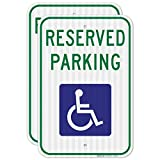 Handicap Parking Sign, (2 Pack) Reserved Parking Sign, 12x18 Inches, 3M EGP Reflective .063 Aluminum, Fade Resistant, Indoor/Outdoor Use, Made in USA by Sigo Signs