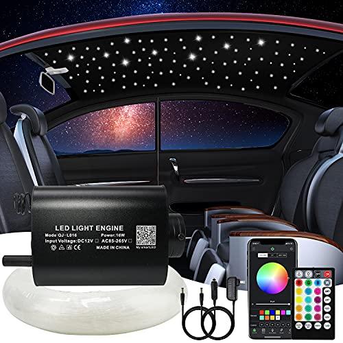 AMKI 16W Fiber Optic Star Kit Ceiling Light,APP Controlled 28 Keys Sound Sensor Musical RGBW Remote 0.75mm/0.03in 6.5ft/2m 150pcs