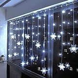Klighten Rideau Lumineux Flocon de Neige, 3.5M Guirlandes Lumineuses 96 LED 8 Modes d'Eclairage, Decoration de Fenêtre,...