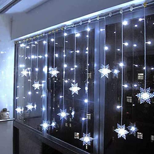 Klighten Rideau Lumineux Flocon de Neige, 3.5M Guirlandes Lumineuses 96 LED 8 Modes d'Eclairage, Decoration de Fenêtre, Noël, Mariage, Anniversaire, Maison, Pati - Blanc Froid