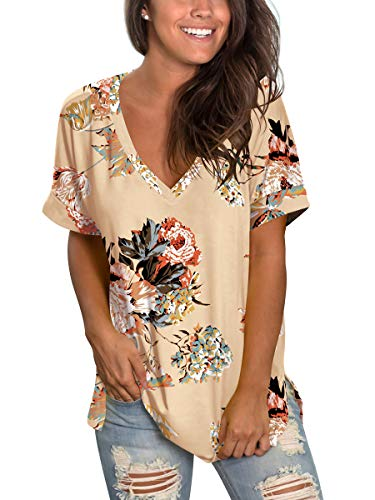 Women's Floral Print Summer T Shirt Loose Fitting Tops Women Boyfriend Tees Khaki XL