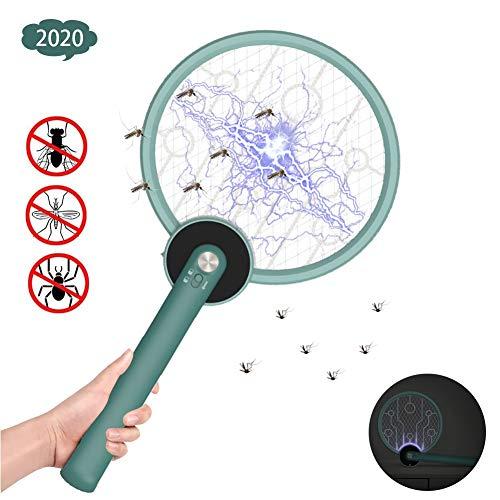 LWWOZL Elektrische Fliegenklatsche Aufladbar, Insektenvernichter Fliegenfänger USB Klappbar Insekten Mörder 3-Schicht Mesh Schutz, Ideal für Drinnen und DraußenGreen