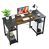Foxemart Computer Desk with Storage Shelves, 47' Sturdy Office Desk with CPU Stand, Industrial Desk Study Writing Table for Home Office, Vintage Rustic Brown and Black