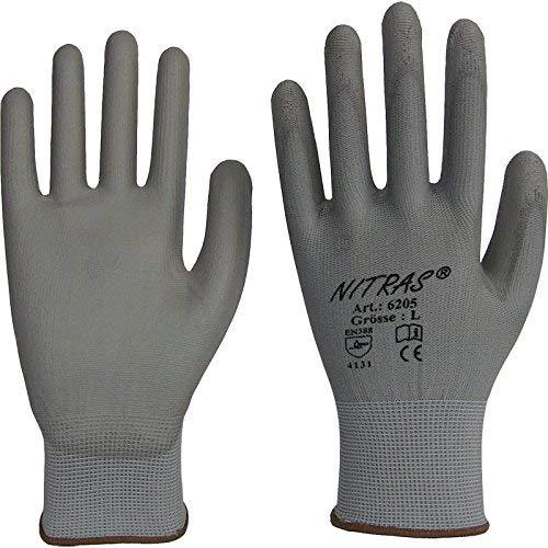 240 Paar NITRAS 6205 Nylon Handschuh PU grau, Gr.: XL / 9