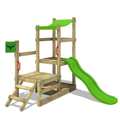 FATMOOSE Klettergerüst RabbitRally Racer XXL Spielturm Spielhaus mit 2 Podesthöhen, Sandkasten und Wellenrutsche