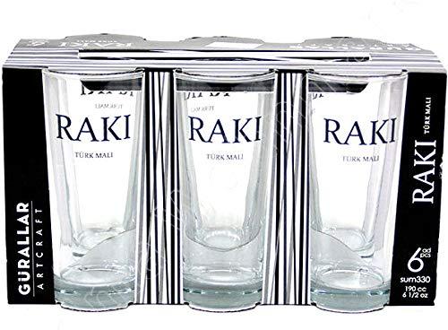 6 x vidrio Gürallar Raki - vasos Raki (cada 190CC)