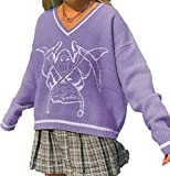 Suéter de punto de gran tamaño para mujer, con cuello en V, estilo vintage, estilo argyle y suéter, ropa estética (color: morado, tamaño: M)