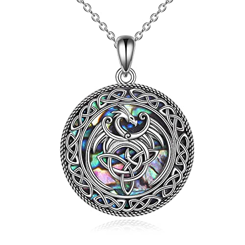 Phoenix Necklace Jewelry Gifts Sterling Silver Abalone Warrior Celtic Knot Phoenix Bird Pendant Necklace for Women Teen Girls