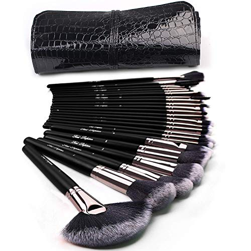 Lot de 24 pinceaux de maquillage Kabuki pour fond de teint, poudre, fard à joues, anti-cernes, fards à paupières, pinceaux de maquillage avec sac