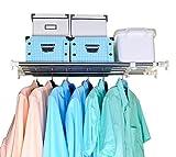 BAOYOUNI Teleskop Garderobensystem Regal Kleiderstange 5 Edelstahl Stangen Ausziehbar Länge 60-100cm Aufbewahrung Bücherregal Regalteiler DIY Layered Trenner für Küche, Badezimmer, Kleiderschrank