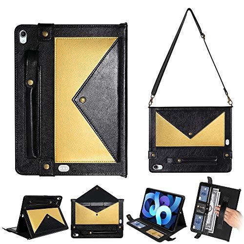 iPad Air 10.9 Case 2020, Premium PU Leather Smart Wallet Case Handbag for iPad Air 4, with Card Slots, Money Pocket, Shoulder Strap, Hand Strap, Pencil Holder (Black+Gold)