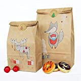 Minear 24 unidades / Set de bolsas de regalo de Navidad, bolsas de papel de estraza con colgantes de Navidad, bolsas de alimentos, bolsas para aperitivos de galletas, decoración de Navidad