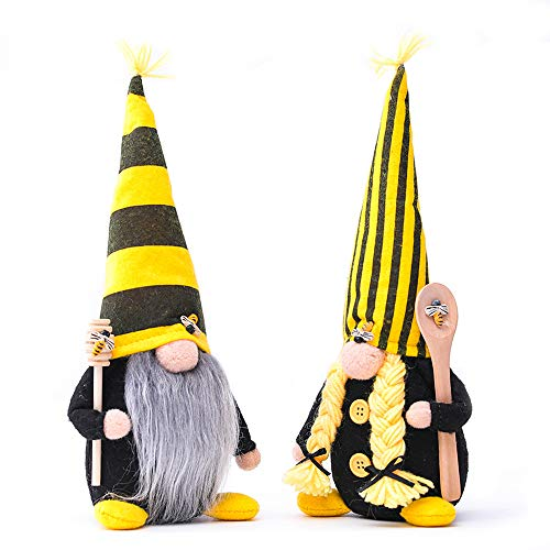 Bumble Bee Gnome Decor, 2 Pack Handmade Bumble Plush Faceless Doll Ornaments World Bee Day Scandinavian Swedish Spring Decoration Home Farmhouse Kitchen Decor (Style C)