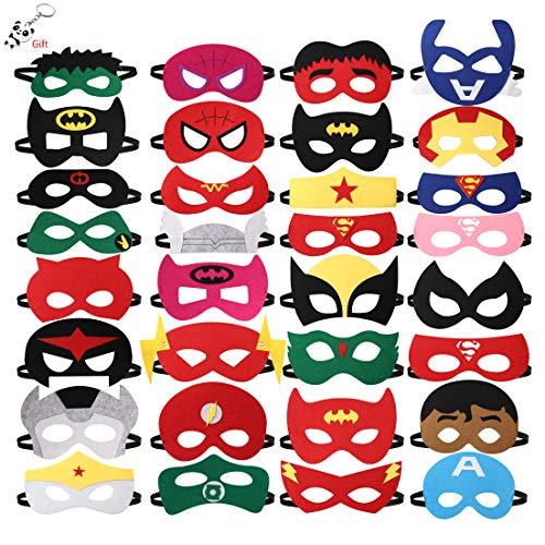 nuoshen Kinder Cosplay Masken, 32 Stück Superheld Masken Halbmasken Kinder Filz Masken für Party Maskerade Kinder Rollenspielmasken für Superhelden