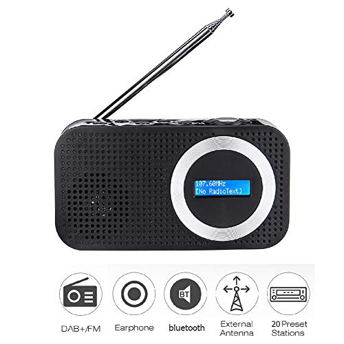 C- DAB + Digitales & FM RDS Tragbares Radio Digitales FM Radio Bluetooth-Lautsprecher 3,5 mm AUX-Buchse LCD-Display-Lautsprecher, LCD-Display