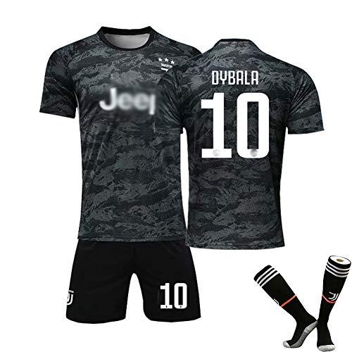 # 10 Dybala Fußball Uniform # 7 Ronaldo Trikot Set, Club Kurzarm Shorts Training Wettkampfanzug für Herren Kind Geschenk 1coat Shorts Black(#10)-26