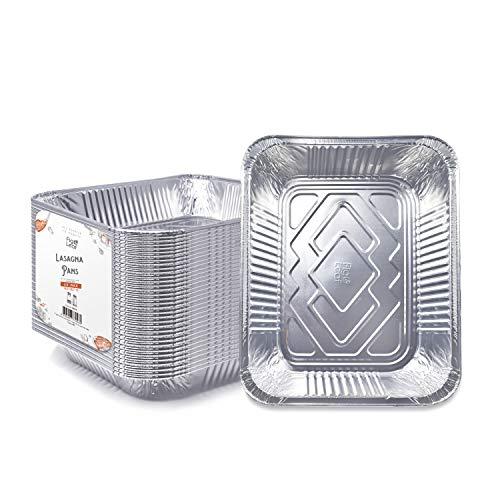 """Fig amp Leaf 30 Pack Premium Lasagna Pans 14quot x 10quot x 3"""" Heavy Duty l 39 Gauge l Disposable Aluminum Foil for Roasting Turkey Baking or Cooking"""