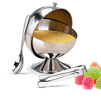 Kowth Stainless Steel Sugar Bowl with Lid and Spoon Multi-purpose Sugar Jar with Sugar Cubes Tongs Sugar Holder Container for Home and Kitchen
