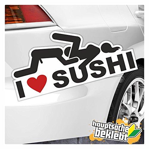 KIWISTAR I Love Sushi in 7 Größen erhältlich Aufkleber mehrfarbig Sticker Funsticker colored