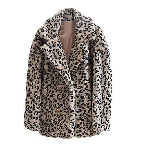 Damen Mode Winter Leoparden Muster Locker Kurzer Trenchcoat Schaffell Mantel Warm Halten Maserung Samt Schafschur Lammfell Plüsch Jacken